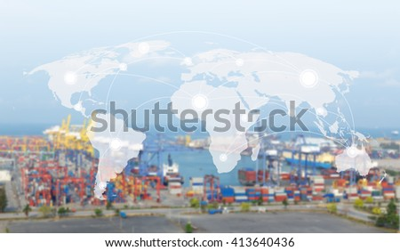 World map global network concept transport,Industrial Container Cargo freight ship  for Logistic Import Export background  (Elements of this image furnished by NASA) - stock photo