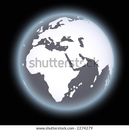 world map globe over a dark background - stock photo