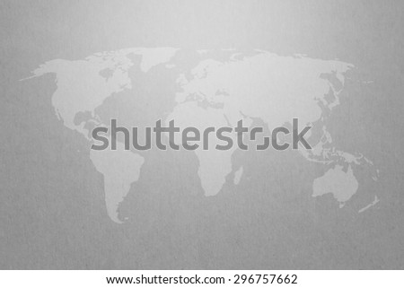 world map graphic on gray paper texture background with light on top. Elements of this image furnished by NASA - stock photo