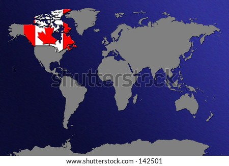 World Map - Highlight Canada With Flag - stock photo