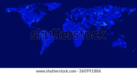world map illustration with glowing blue triangles illustration - stock photo