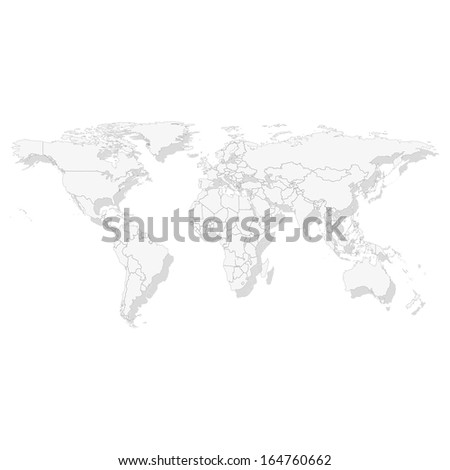 World map illustration with shadow  - stock photo