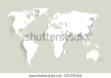 World- map illustration with smooth  shadows and white map of the continents of the world- design element for infographics, and other global illustrations - stock photo