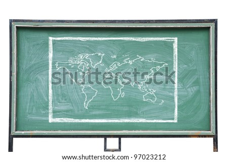 World map in blackboard - stock photo