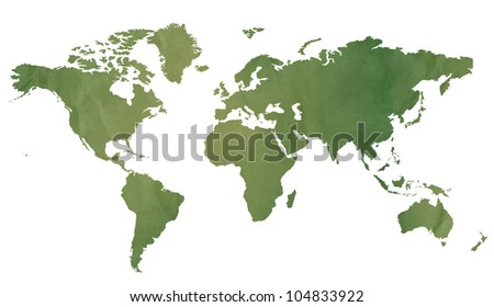 World map in old green paper isolated on white background. - stock photo