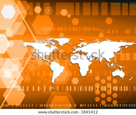 World map in orange with hexagons.