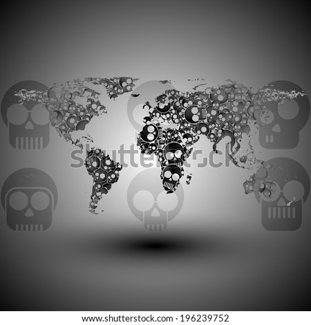 World map in the form of skulls background illustration - stock photo