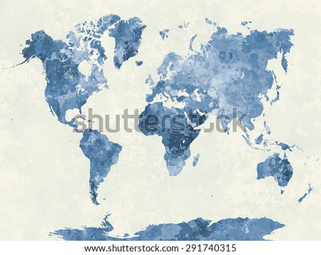 World map watercolor painting abstract splatters stock world map in watercolor painting abstract splatters blue gumiabroncs Image collections
