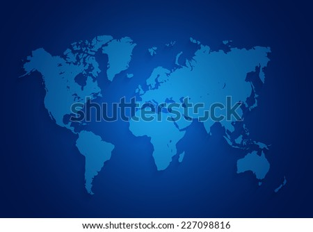 world map located on a dark blue background - stock photo