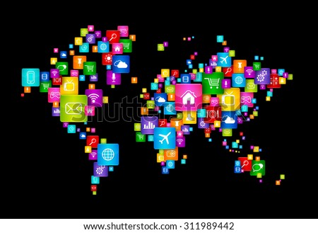 World Map made of Flying Desktop Icons. Cloud Computing concept