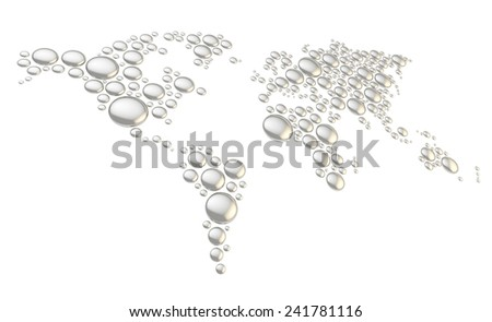 World map made of multiple chrome metal glossy dimensional round shapes, composition isolated over the white background - stock photo
