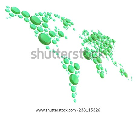 World map made of multiple transparent green glass dimensional glossy round shapes, composition isolated over the white background - stock photo