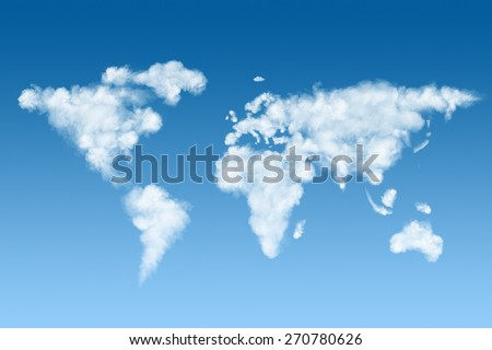 world map made of white puffy clouds on blue sky - stock photo