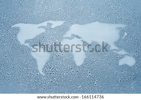 World map made out of water droplets - stock photo