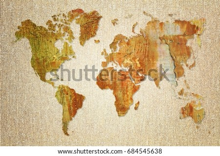 World map made artistic oil colors stock illustration 684545638 world map made with artistic oil colors on fabric background elements of this image furnished gumiabroncs Gallery