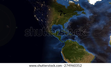 World Map Montage - America Day & Night Contrast (Public Domain Maps furnished by NASA) - stock photo