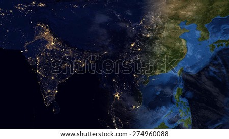 World Map Montage Asia Day Night Stock Illustration 274960088 ...