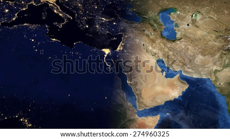 World Map Montage Mediterranean Day Night Stock Illustration ...