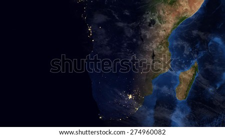 World Map Montage - South Africa Day & Night Contrast (Public Domain Maps furnished by NASA) - stock photo