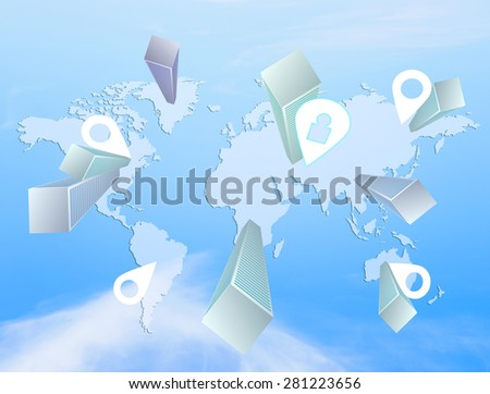 World Map Navigation with Skyscrapers. Sky Backgroung - stock photo