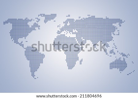 World Map of continents, dotted, blue, on light blue background - stock photo