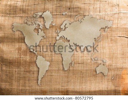 World map old grunge canvas texture for background - stock photo