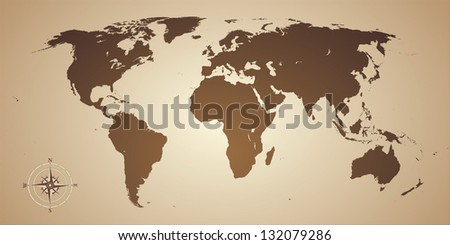 world map old style with compass - stock photo
