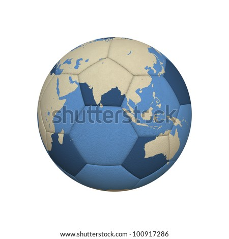 World Map on a Soccer Ball Centered on Asian Continent (jpeg file has clipping path) - stock photo
