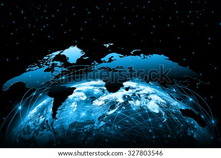World map on a technological background, glowing lines symbols of the Internet, radio, television, mobile and satellite communications. Elements of this image furnished by NASA