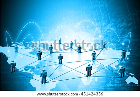 World map on a technological background, glowing lines symbols of the Internet, radio, television, mobile and satellite communications. Internet Concept of global business. - stock photo