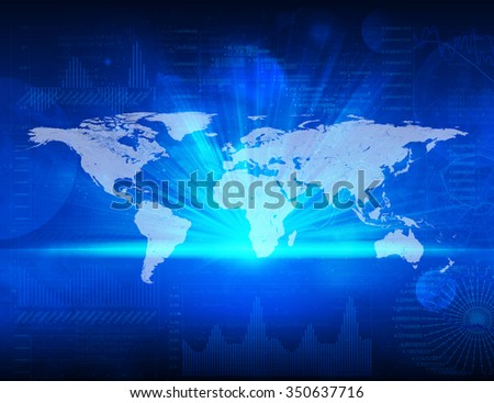World map on abstract blue business background