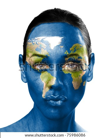 World map on beauty woman face - stock photo