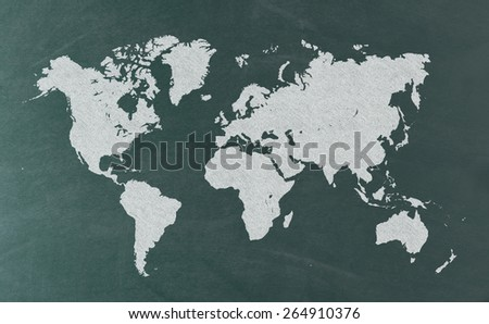 World Map on Blackboard - stock photo