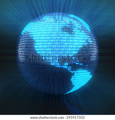 World map on globe formed by binary code, 3d render - stock photo