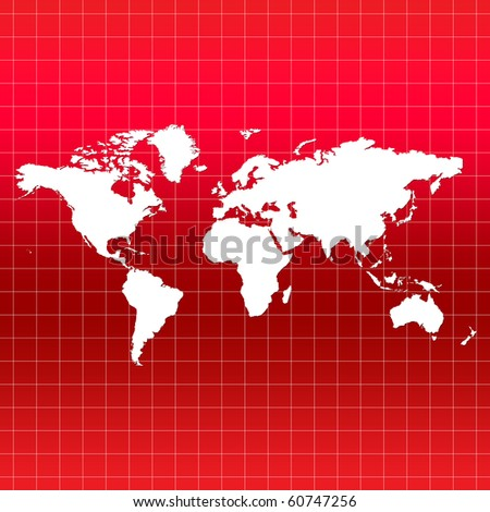 World Map on Grid - red color - stock photo