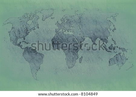 World map on grunge old paper - stock photo