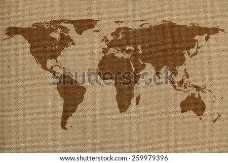 world map on hard compressed board background texture - stock photo