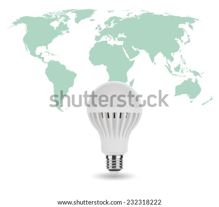 World Map on LED Light Bulb - stock photo