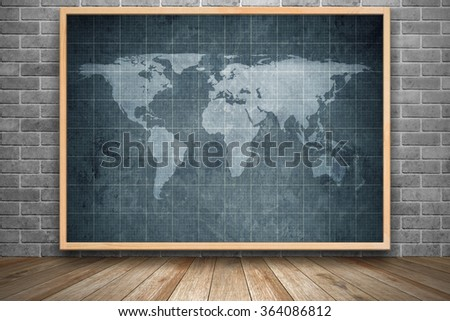 World map on old blueprint background stock photo image royalty world map on old blueprint background texture in wooden frame in interior room with black brick gumiabroncs Images