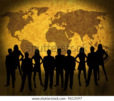 world map on old page background with business people silhouettes Map: http://www.lib.utexas.edu/maps/world_maps/world_pol02.jpg copyright:http://www.lib.utexas.edu/maps/faq.html#3.html
