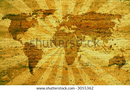 world map on rusty sunbeam background.both files are from my portfolio traced map: http://www.lib.utexas.edu/maps/world_maps/world_pol02.jpg copyright: http://www.lib.utexas.edu/maps/faq.html#3.html - stock photo