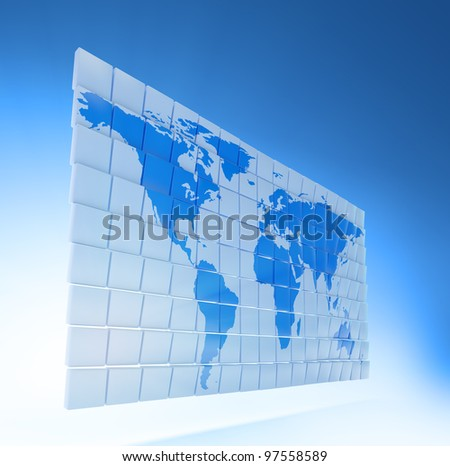 World map on small 3D panels - stock photo