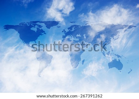 World map on sot focused blue sky backgrounds - stock photo