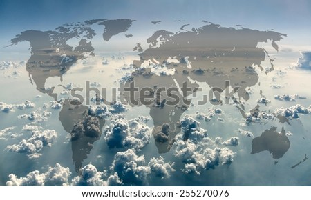 World map on the background of sky with clouds. - stock photo