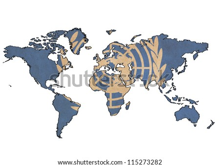 world map on United Nations flag drawing ,grunge and retro flag series - stock photo