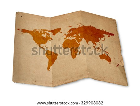 World map on vintage paper texture