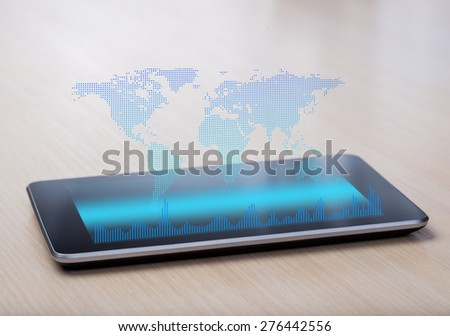 World map on virtual screen - stock photo