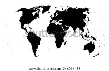 world map on white background.  Black silhouette isolated. - stock photo