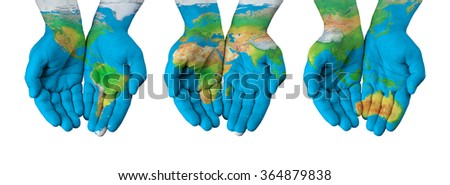 World map painted on hands isolated stock photo 364879838 world map painted on hands isolated gumiabroncs Images