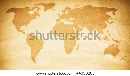 world map paper texture with beautiful color effects - stock photo